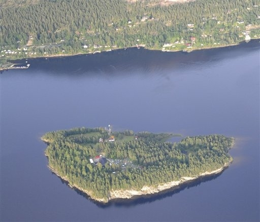 An aerial view of Utoya Island, Norway taken Thursday, July 21, 2011. (AP Photo/Mapaid, Lasse Tur)
