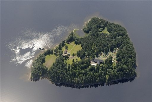 An aerial view of Utoya Island, Norway taken Thursday, July 21, 2011.(AP Photo/Mapaid, Lasse Tur)