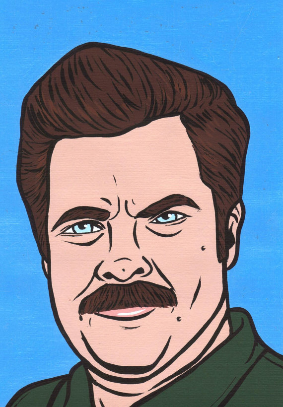 7) Ron Swanson Hand-Painted Portrait / $14.99