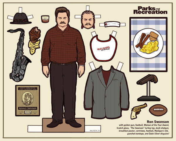3) Ron Swanson Paper Doll / Free