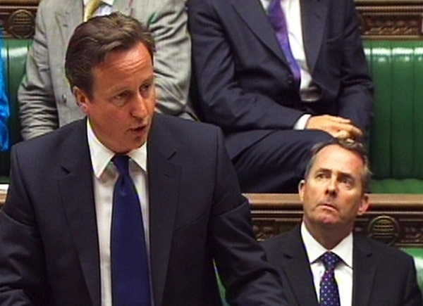 In this image made from television, Britain's Prime Minister David Cameron speaks in the Hous...