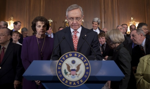 Senate Majority Leader Sen. Harry Reid, D-Nev., speaks during a news conference on debt ceiling l...