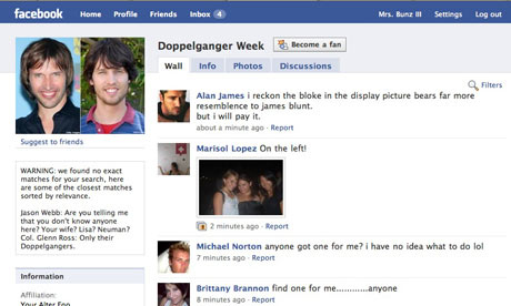 Facebook Celebrity Doppelganger Week