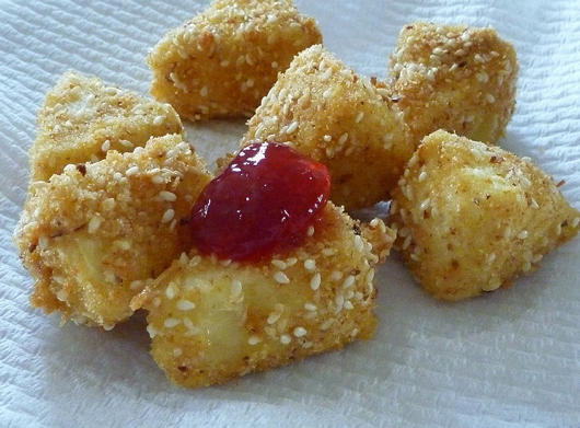 Deep Fried Brie With Cranberry Sauce