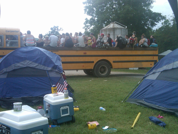 Be careful of the Juggalo bus. They WILL throw plastic bottles and cans at you.