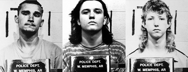 The mug shots of Jason Baldwin, Damien Echols and Jessie Misskelley, Jr.