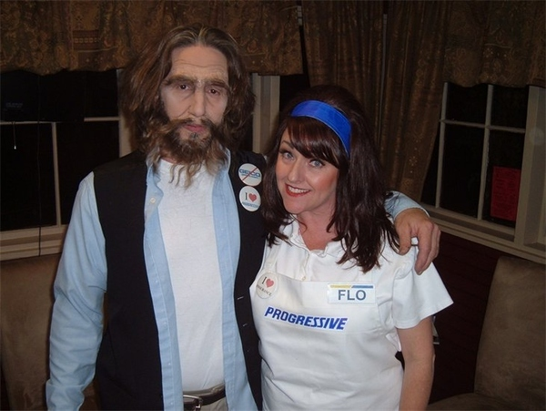 Flo even likes to hang out with the Geico Caveman! Source