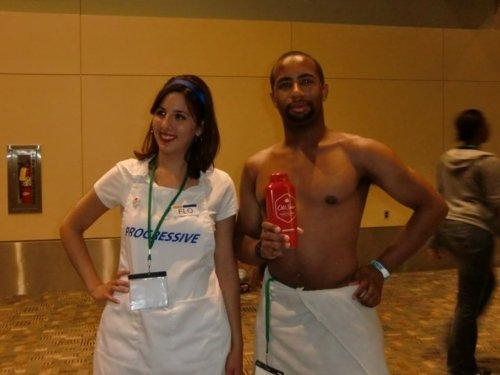 She's even hanging out with the Old Spice Guy! Source