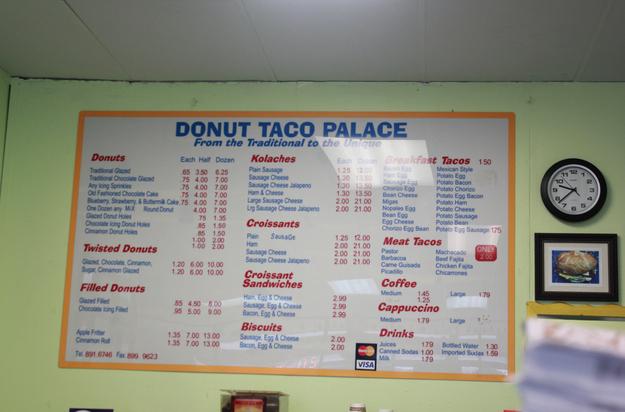 The menu: