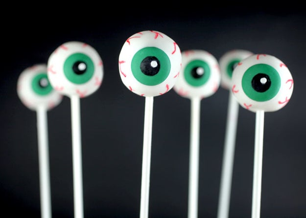 Draw on white cakepops with edible ink pens to make them look like creepy eyeballs.