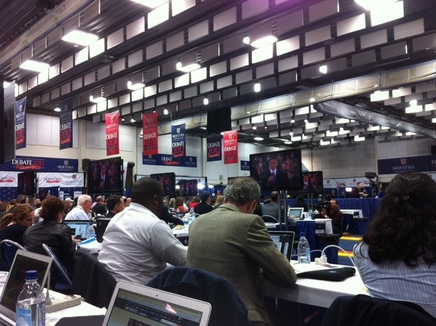 The view from my seat in the spin room.