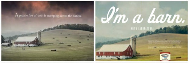 """The barn in this Romney campaign ad """"Prairie Fire"""" was also used in an Organic Valley butter ad with the text """"I'm a barn."""""""