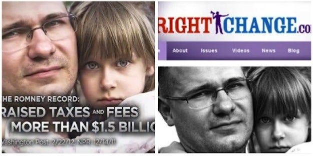 The Obama campaign ad hitting Romney for fee increases as governor is used as a logo for churches, charity groups, law firms and even a right-wing group RightChange.com, among others.