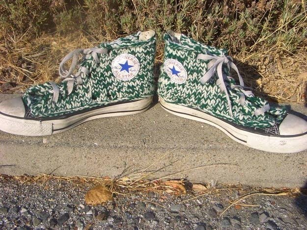 Cut off the canvas and replace it with knitting. Don't forget to reattach the original Converse patches, as done here.