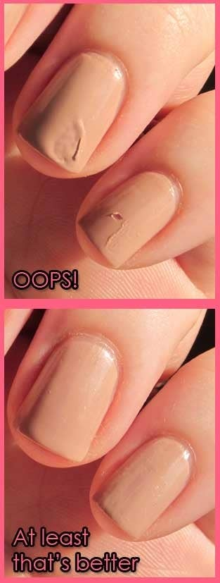 If you accidentally smudge a nail while it's still wet, you can easily fix it by licking your finger and gently smoothing the smudge out (you can even use your tongue to smoothe). The saliva reacts with the nail polish to soften and blend the surface. (Remember: LICK don't EAT.)A product called smudge repair works similarly.