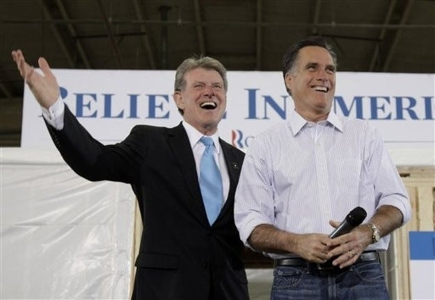 Romney with Idaho Gov. Butch Otter earlier this month.