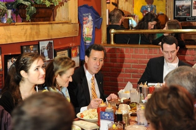 The Santorum family ate at a Tennessee BBQ joint yesterday.