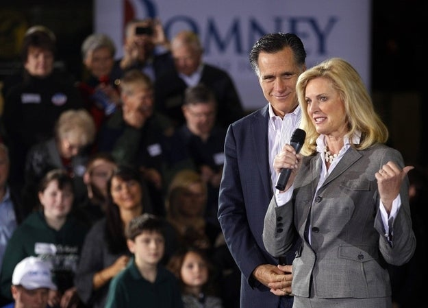 Republican presidential candidate and former Massachusetts Governor Mitt Romney listens as his wife Ann introduces him during a campaign stop at Gregory Industries in Canton, Ohio March 5, 2012.