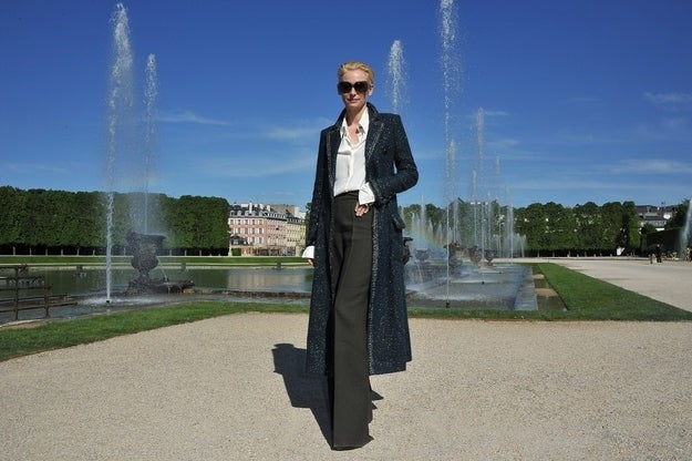 VERSAILLES, FRANCE - MAY 14: Tilda Swinton poses during the Chanel 2012/13 Cruise Collection Photocall at Chateau de Versailles on May 14, 2012 in Versailles, France.