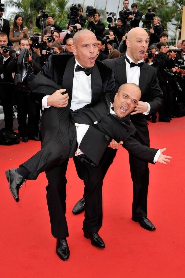 CANNES, FRANCE - MAY 21: (L-R) Mehdi Sadoun, Jib Pocthier and Eric Ramzi attend the 'Vous N'avez Encore Rien Vu' premiere during the 65th Annual Cannes Film Festival at Palais des Festivals on May 21, 2012 in Cannes, France.