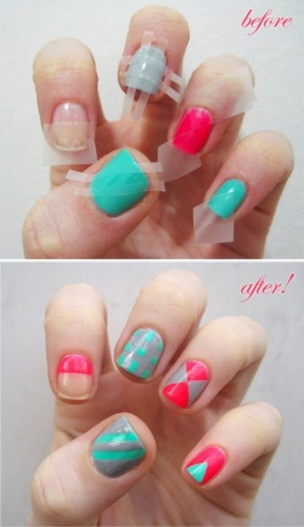 Op Art Nails - 12 Amazing DIY Nail Art Designs Using Scotch Tape