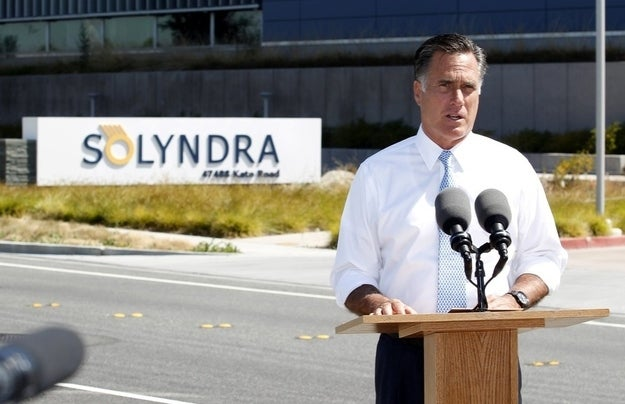 Mitt Romney campaigns outside Solyndra on May 31. (Reuters Pictures)