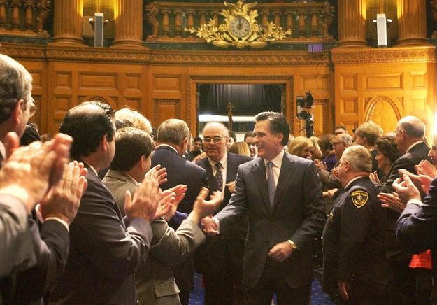 Romney addressing Massachusetts lawmakers in 2003. (AP)