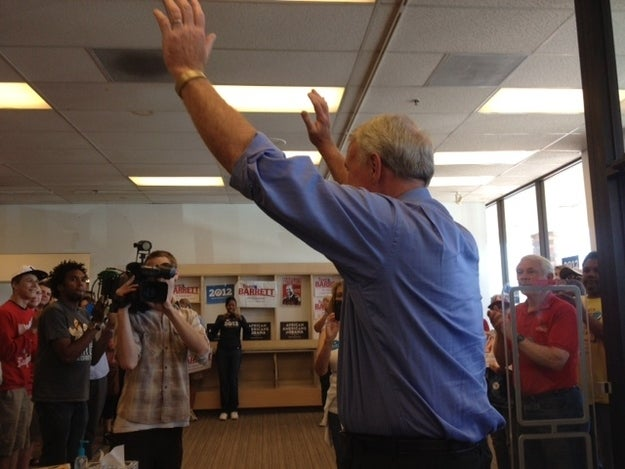 Tom Barrett greets supporters in Milwaukee.