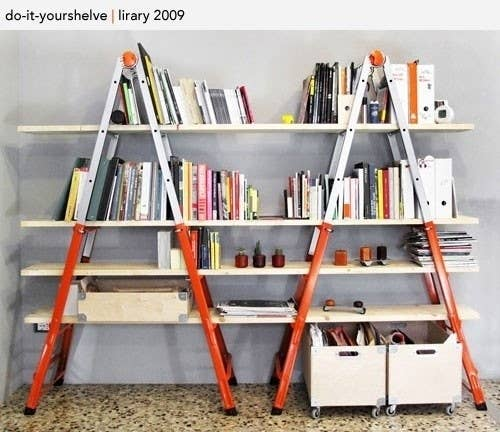 Ladder + Wood Bookshelves