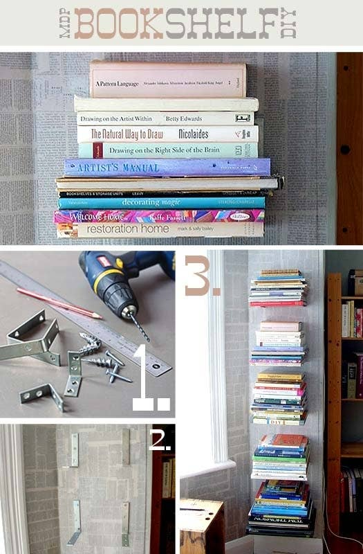 floating bracket bookshelves - Weird Bookshelves