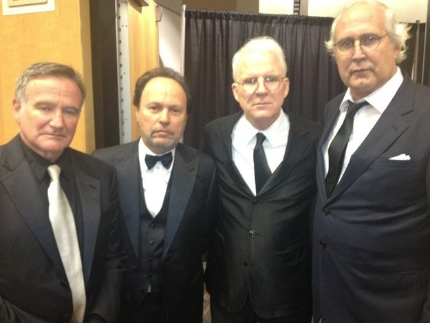 Left to right: Robin Williams, Billy Crystal, Steve Martin, and Chevy Chase.
