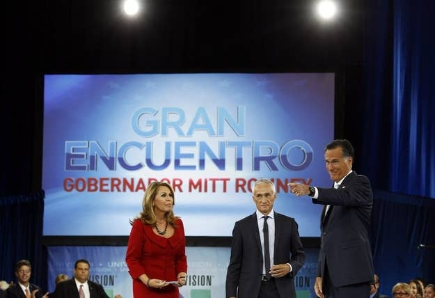 """Romney at Univision and Facebook's """"Meet the Candidates"""" forum, moderated by Maria Elena Salinas and Jorge Ramos."""