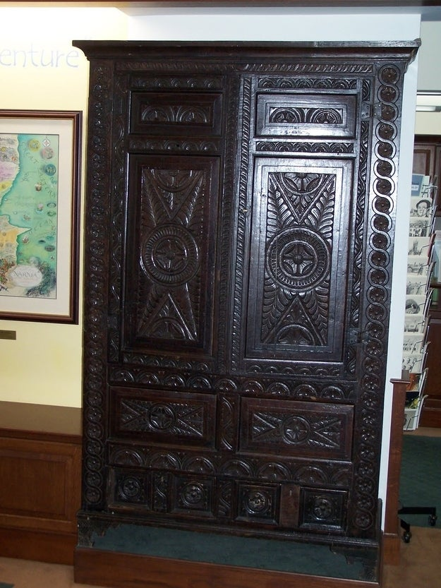 The nineteenth-century wardrobe pictured above was made by Richard Lewis, the paternal grandfather of C. S. Lewis, author of the Chronicles of Narnia. As a child, C. S. Lewis and his cousins used to crawl inside and tell each other adventure stories. Given these fond childhood memories, it's not terribly surprising that Lewis chose a wardrobe as a gateway to a fantasy land. The wardrobe is currently on display at Wheaton College.