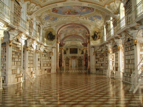 The largest monastic library in the world is located in Admont in Austria. Admont Abbey was founded in 1074 and settled by Benedictine monks.