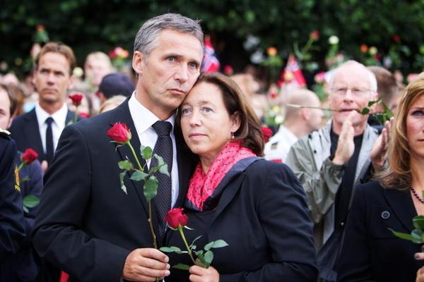 Prime minister Jens Stoltenberg with wife Ingrid Schulerud