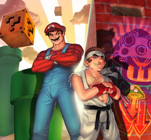 Ryu and Mario Costume Swap by Rafael
