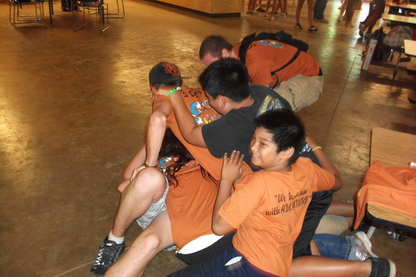 A goodbye dogpile in the dining hall
