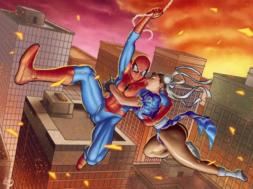 Chun Li <3s Spider-Man by Rosita Amici