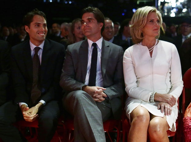 Ann Romney, right, is seated with Tagg Romney, center, and Craig Romney before the start of the first presidential debate.