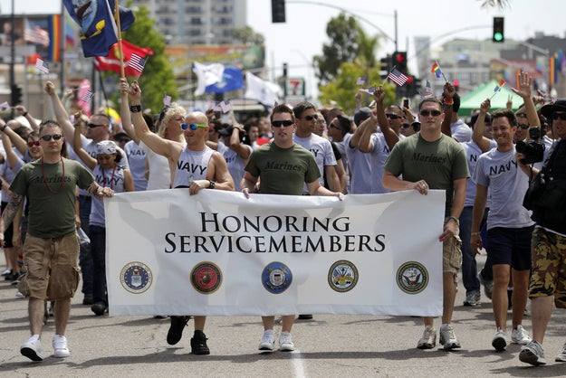 "Members of the military marching in the Gay Pride Parade in San Diego in July 16, 2011, after ""Don't Ask, Don't Tell"" repeal passed Congress but two months before the law actually was taken off the books in September 2011."
