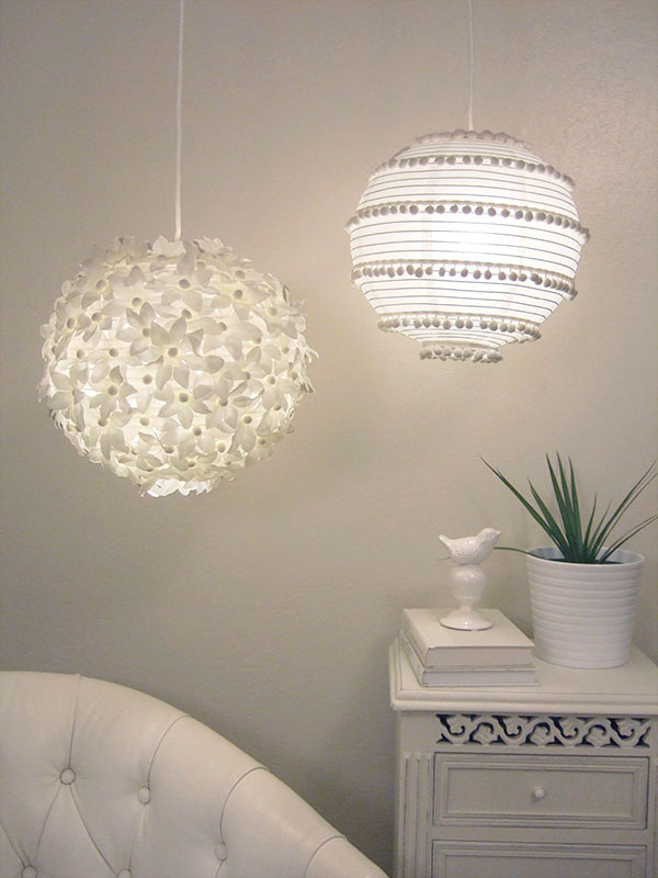 Here are two more ideas for paper lanterns, one with flowers and one with pom-poms.