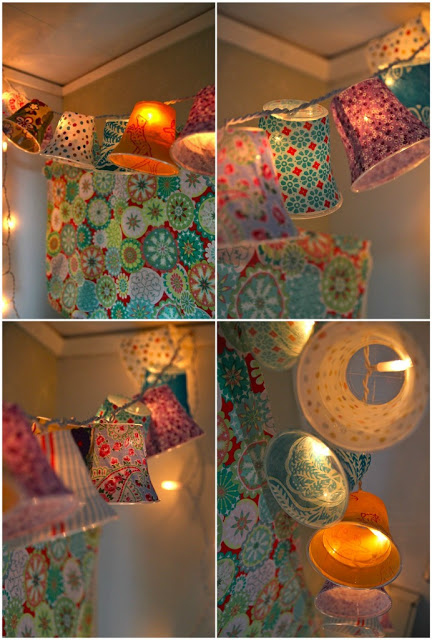 Bust out your decoupage skills and use plastic cups to make these colorful string lights.