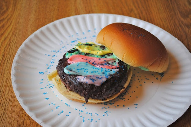 "All-Beef Burger, Totally-Not-Gay Special Rainbow Sauce, Fairy Sprinkles on a Bun""We all know how Ricky feels about the gays, which is why I created this completely family- and kid-friendly burger, perfect for you're whole family to enjoy! You'll taste the sanctity of traditional marriage in every bite!"""