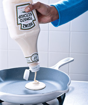 Pre-make pancake batter and store it in a ketchup bottle.