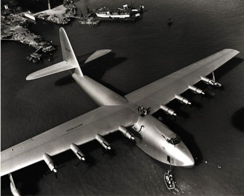 """Howard Hughes' """"Spruce Goose"""", or Hercules H-4, is one of the craziest aircraft to ever exist. Using 8 engines to get airborne and topping five stories high she only flew once, but that was probably enough."""