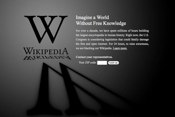 Wikipedia, on the day of the SOPA blackout.