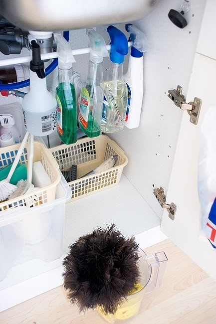 Use a Rail in Your Sink Cabinet for Cleaning Products