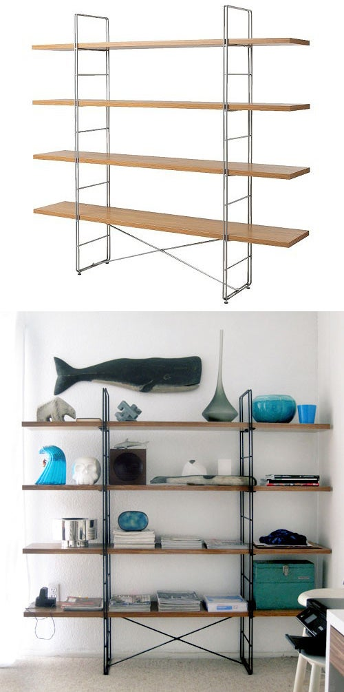 Jonathan Lo used inexpensive contact paper from Home Depot to give an IKEA bookshelf a much more high-end Danish modern look.