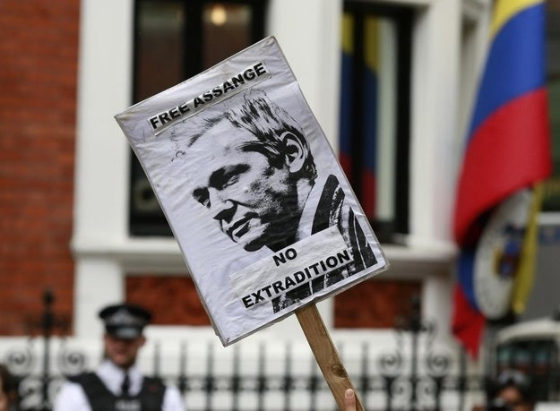 A sign held by an Assange supporter outside the Ecuadorean embassy in London.