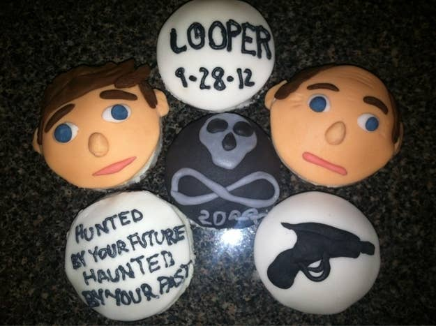 These cupcakes make time travel look delicious. Should we snack on Bruce Willis or Joseph Gordon-Levitt first?